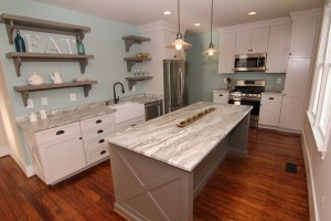 Beautiful renovated kitchen in Grantner Place with original hardwood floors!