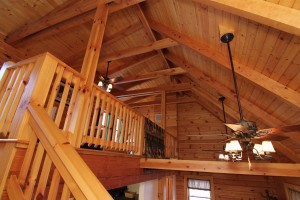 The beautiful interior of Spring Mountain Way - we love this property's gorgeous full log construction!